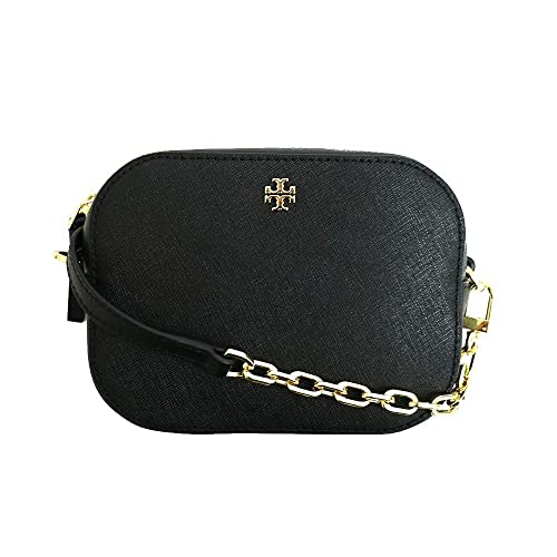 Tory Burch Robinson Round Cross-Body Black Saffiano Leather Gold-Tone Hardware Bag