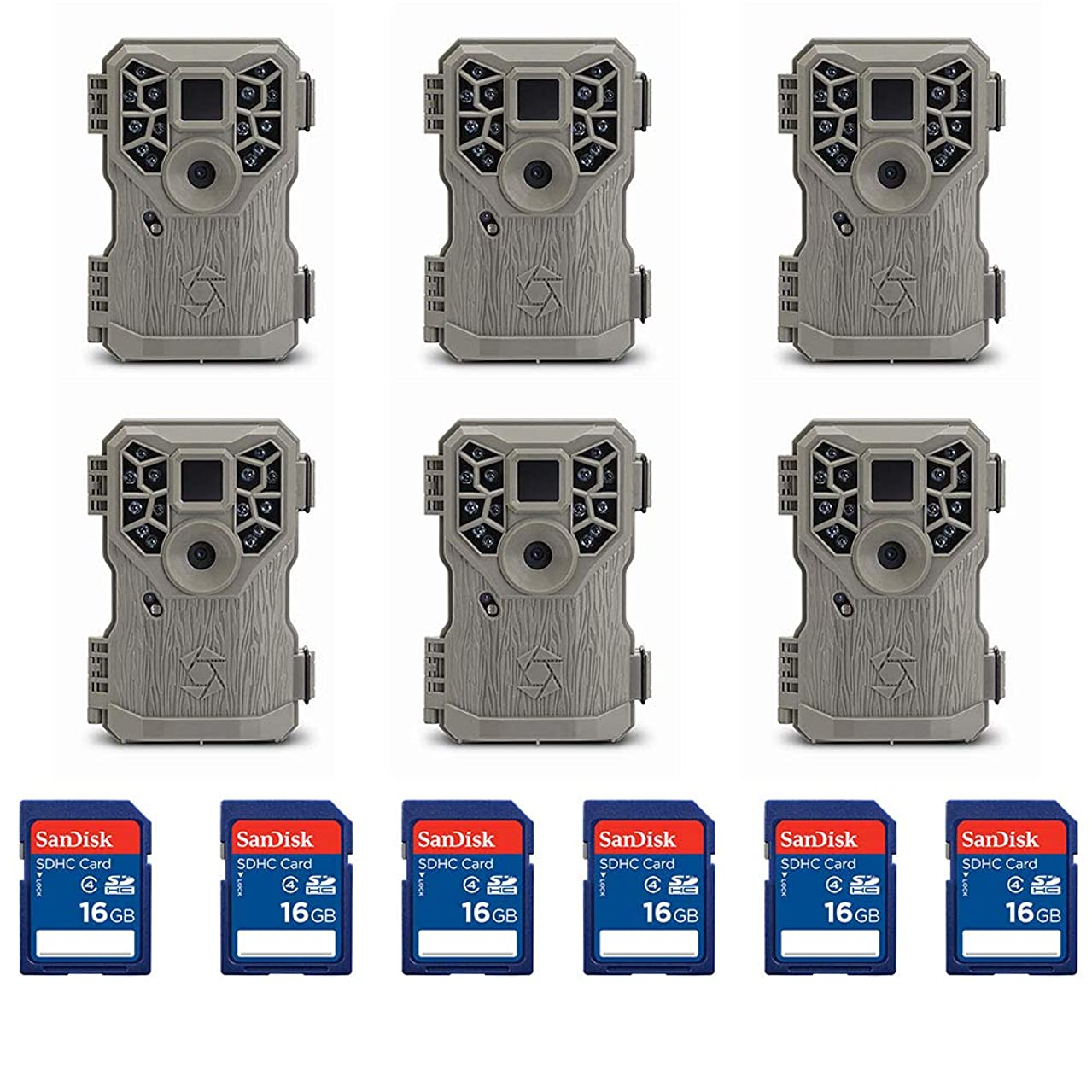 Stealth Cam 8MP IR Game Camera (6 Pack) & SanDisk 16GB SD Memory Card (6 Pack)