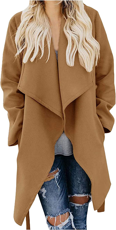 Cardigo Winter Coats for Women Ladies Plus Size Belted Overcoat Long Sleeve Trench Outwear Jacket Pockets