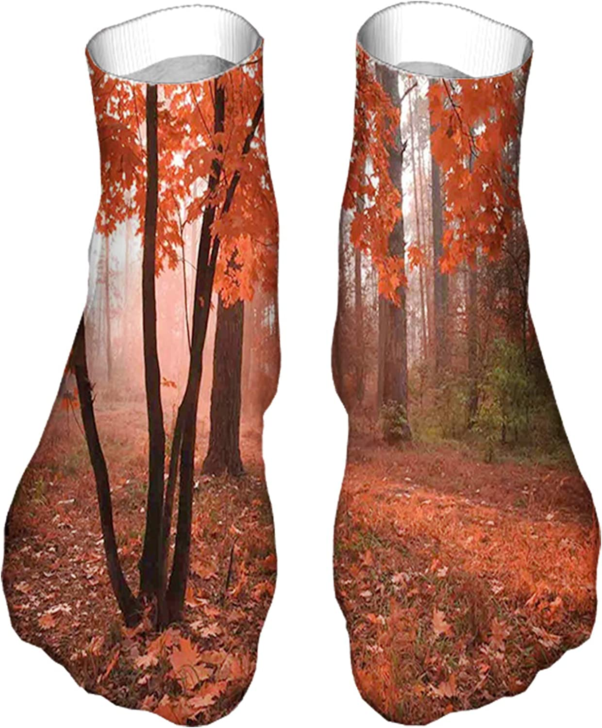 Women's Colorful Patterned Unisex Low Cut/No Show Socks,Misty Forest with Leaves from Deciduous Seasonal Trees Warm