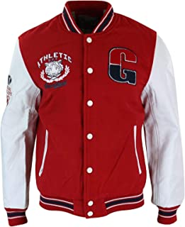 Mens Baseball Varsity Letterman College Fleece Jacket Badge PU Leather Sleeves