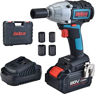 ENEACRO 20V Cordless Impact Wrench Brushless Motor 300 Ft-lbs Torque,4.0 AH Battery with Fast Charger,3 Speed Switch,1/2 Inch Detent Anvil,Belt Clip,Carrying Case & 4 Sockets