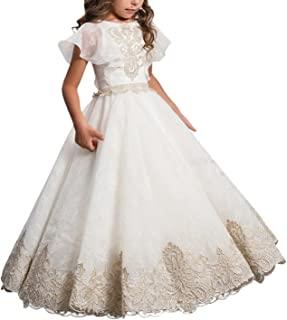 ABaowedding Flower Girls Lace Applique Ball Gowns First Communion Dress Birthday Dress