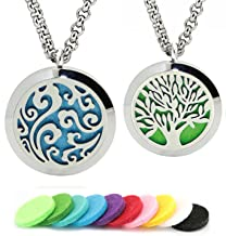 GFONDINGD Aromatherapy Essential Oil Diffuser Necklace Tree of Life Pattern Stainless Steel Locket Pendant