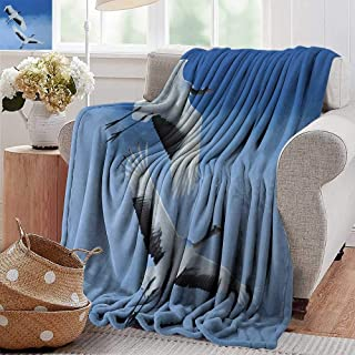 XavieraDoherty Sand Free Beach Blanket,Bird,Two Red Crowned Crane with Open Wings Flying in Clear Sky Japanese Animal Duo,Blue White Black,Soft Summer Cooling Lightweight Bed Blanket 50