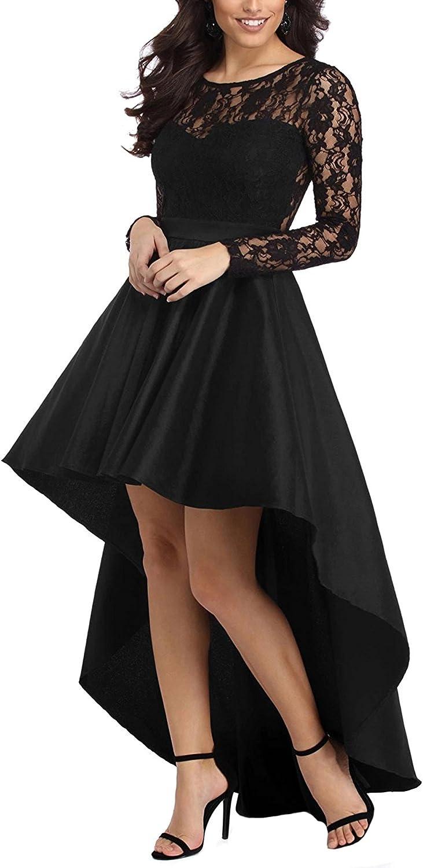 Dearta Women's ALine Scoop HiLo Long Sleeves Lace Sheer Prom Dresses