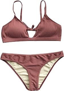 CUPSHE Women's Fluffy Cloud Tie Bikini Set Beach Swimwear Bathing Suit