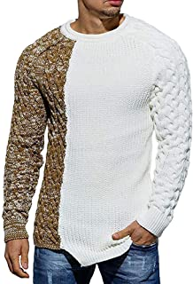 Mens Ribbed Knit Pullover Sweater Twisted Color Block Casual Long Sleeves