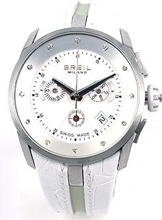 BREIL - Watch Milano CHR Lady SS Case White Strap Diamonds BW0472 - Reloj de Mujer de Cuarzo, Correa de Piel Color Blanco (con cronómetro)
