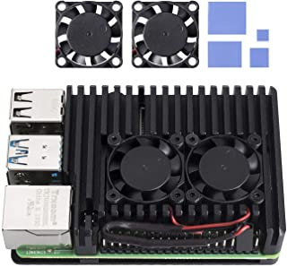 SunFounder Raspberry Pi 4B Aluminum Case with Dual Fan Aluminium Alloy Heatsink for Raspberry Pi 4 Model/Pi 4B