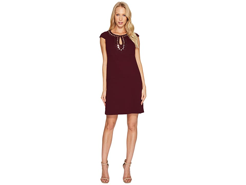 Jessica Simpson Short Sleeve Dress w/ Keyhole Neck (Winetasting) Women
