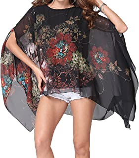 Women's Chiffon Caftan Poncho Tunic Top Cover up Batwing Blouse