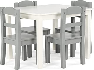 Humble Crew Kids Wood Table & 4 Chairs Set, White/Grey