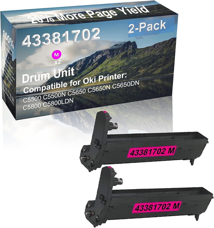 2-Pack (Magenta) Compatible High Capacity 43381702 Drum Unit Used for Oki C5500 C5500N C5650 Printer