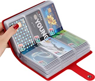 Business Card Holder,Card Holder for Men&Women with 90 Card Slots,ID Card Holder Book (Red)