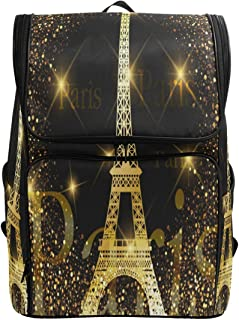 Naanle Chic Beautiful Fireworks Paris Golden Eiffel Tower Print Casual Daypack College Students Multipurpose Backpack Large Travel Hiking Bag Computer Bag for Boys Girls