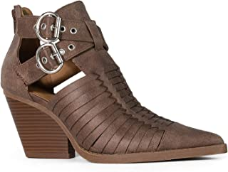 RF ROOM OF FASHION Women's Woven Crisscross Buckle Strap Pointy Toe Ankle Booties