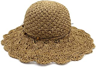 Songlin @ yuan Summer Ladies Sun Hat Folding Openwork Lace Crochet Outdoor Beach Casual Hat Size:56-58CM (Color : Coffee, Size : 56-58CM)