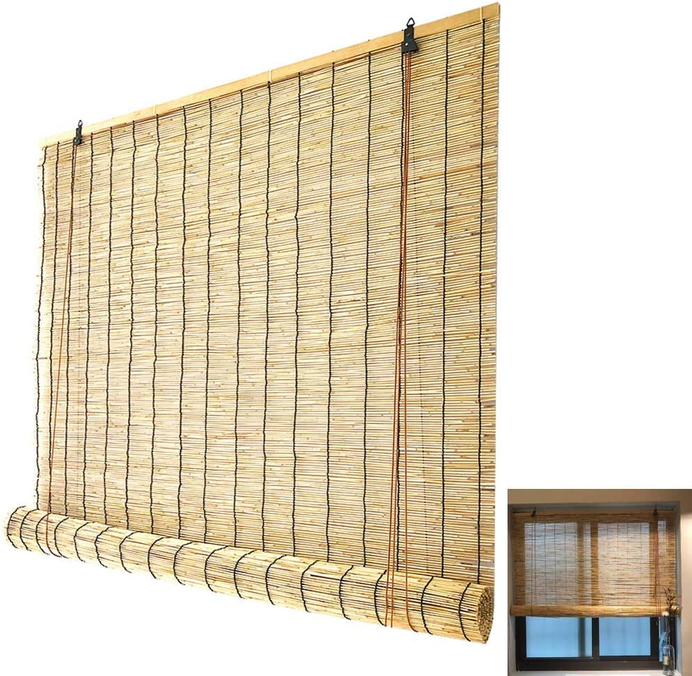 HJRD Bamboo Roller Blinds Retro Boston Mall Shades Roll Na Up Baltimore Mall