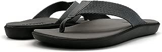 KuaiLu Men's Nylon Strap Flip Flop with Arch Support Cushion Foam Thong Sandals Backless Anti Slip Grey