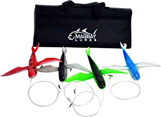 MagBay Lures Flying Fish Tuna Lure Bag (4 Pack), Green/Blue/Black/Red