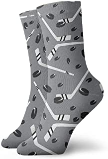 Grey Hockey Dress Socks Funny Socks Crazy Socks Casual Socks for Girls Boys