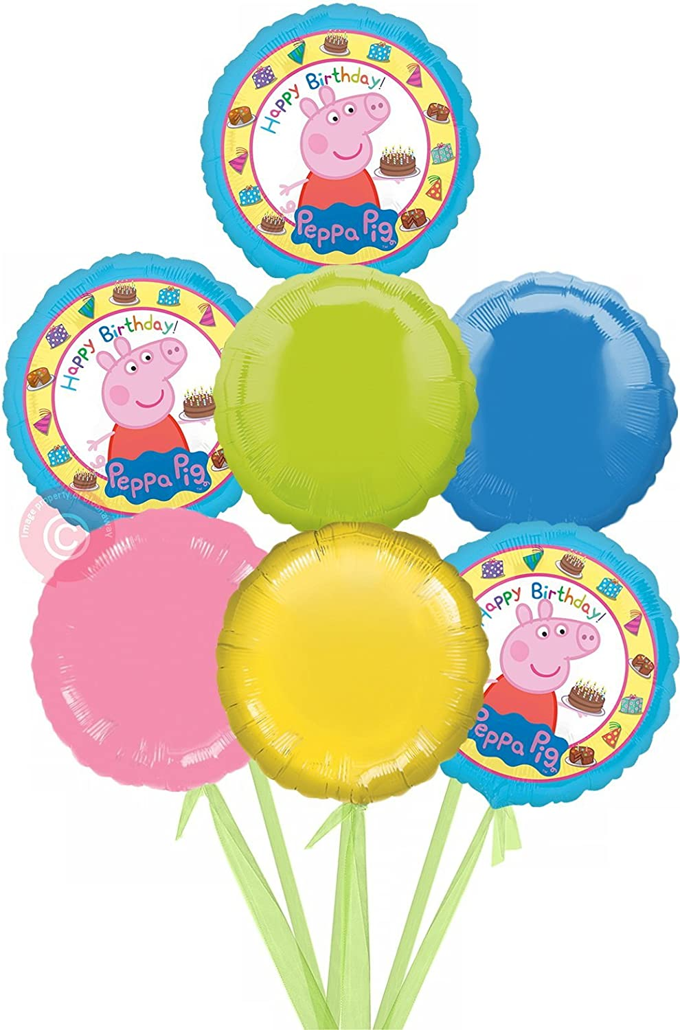Peppa Pig Happy Birthday  Inflated Birthday Helium Balloon Delivered in a Box  Bigger Bouquet  7 Balloons  Bloonaway