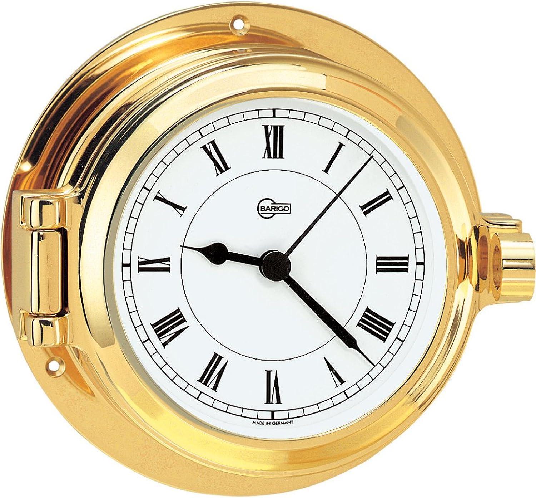Barigo 1327MS Poseidon Series Porthole Ships Clock, Brass & Quartz