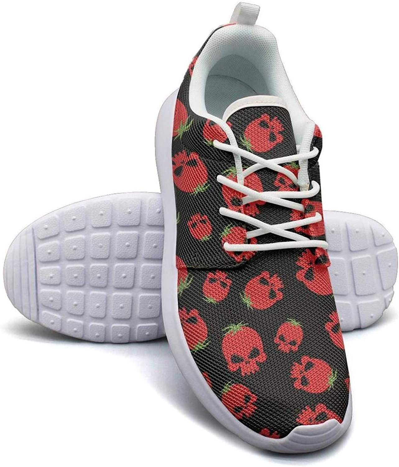 Gjsonmv Strawberry Skull Art Print mesh Lightweight shoes Women lace up Sports Basketball Sneakers shoes