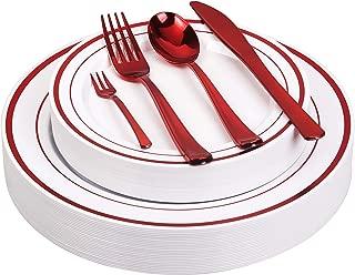 125pcs Disposable Plastic Plates and Cutlery Set/Party Tableware - Including 25 Red Trim Dinner Plates, 25 Salad or Dessert Plates & 25 Polished Red Forks Knives & Spoons - Bonus 25 Dessert Forks