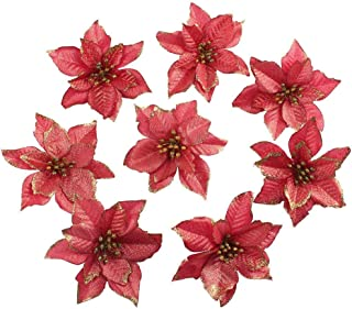 OurWarm 50pcs Glitter Poinsettia Christmas Tree Ornaments Artificial Poinsettia Flowers for Christmas Decorations, Gold (Red, 50)