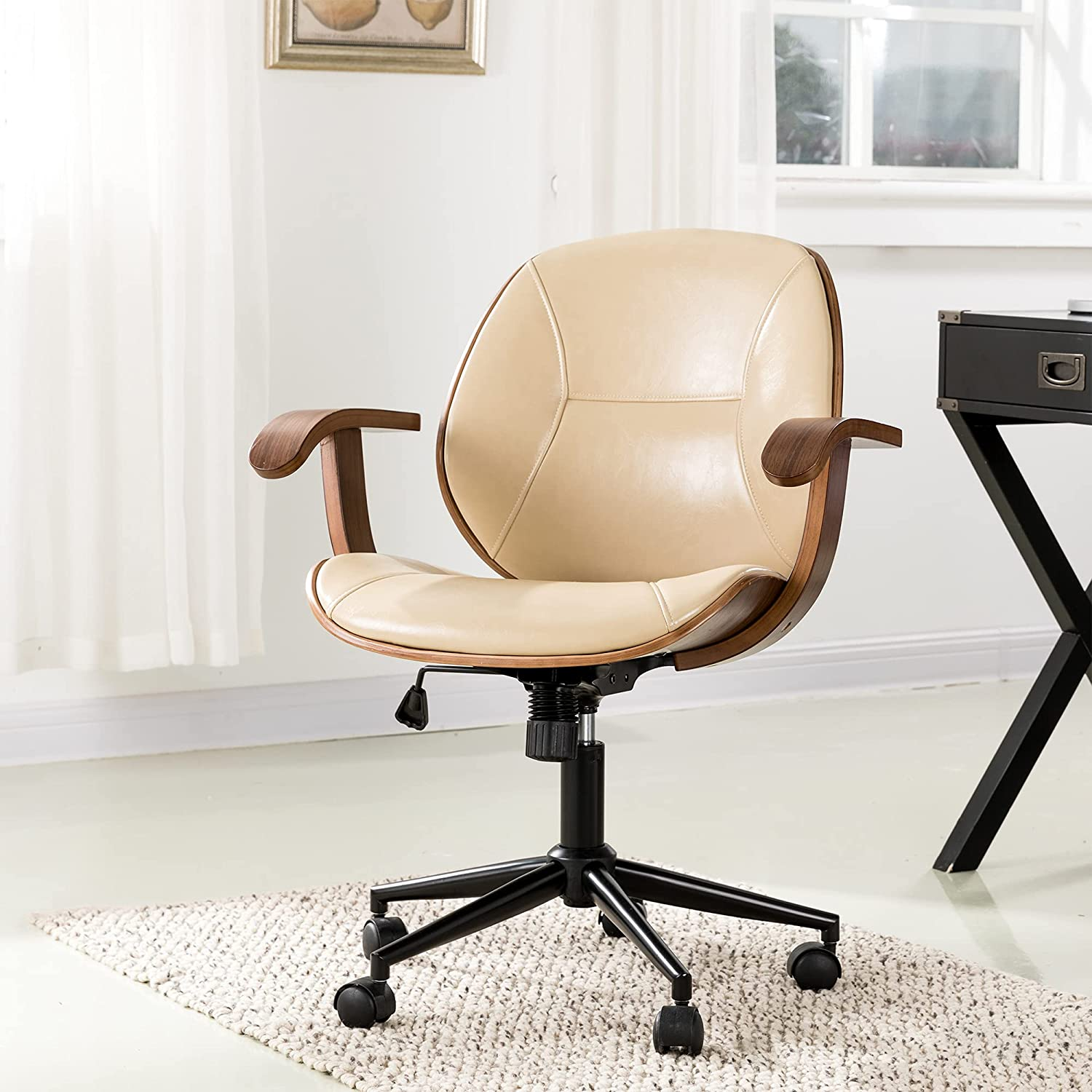 Glitzhome Adjustable Mid-Back Sacramento Mall Home Office Leathe PU Chair Thick Max 78% OFF