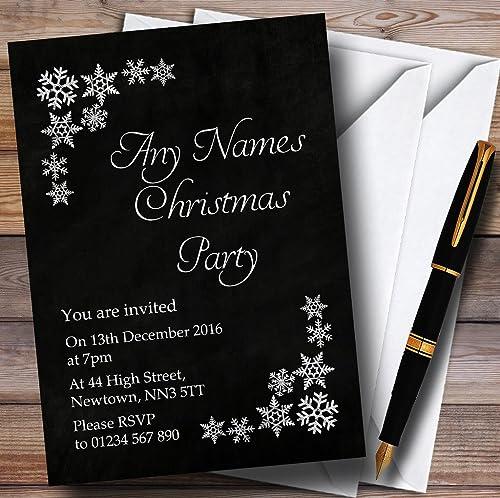 las mejores marcas venden barato blanco copo de de de nieve Navidad Personalizable, efecto tiza invitaciones de fiesta  grandes ofertas