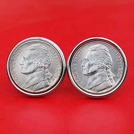 A Pair of US 2001 Jefferson Nickel 5 Cent BU Uncirculated Coin Silver Plated Cufflinks NEW