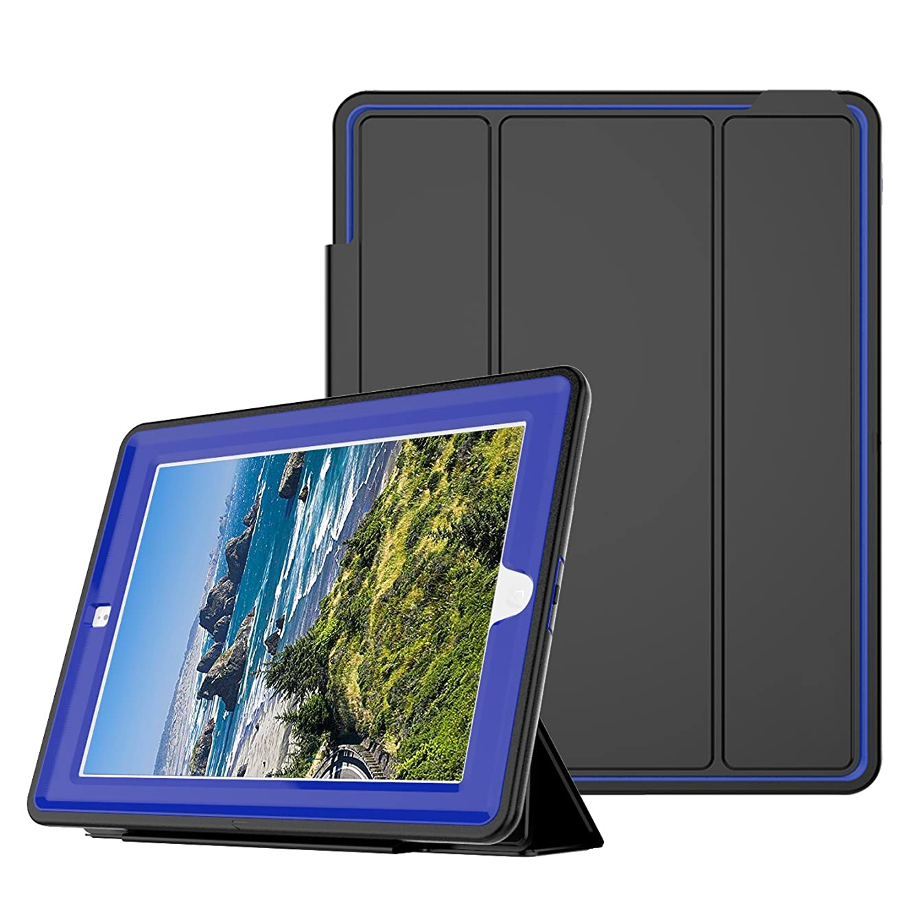 Qelus iPad 2 3 4 Case, Three Layer Hybrid Shockproof Rugged Protective Heavy Duty with Magnetic Stand, Smart Cover Auto Wake/Sleep Protective Case Cover for Apple iPad 2/iPad 3/iPad 4(Black+Blue)