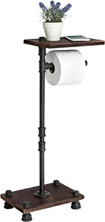 MyGift Standing Industrial Pipe Black Metal Toilet Paper Roll Holder Stand with Wood Shelf