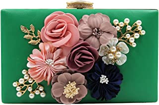 Womens Satin Flower Stud Evening Clutch Pearl Beaded PU Leather Formal Party Prom Handbag