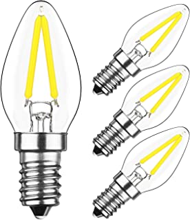 HzSane 2W LED Filament C7 Night Light Bulb, 6000K Daylight White 200LM, E12 Candelabra Base Lamp C7 Mini Torpedo Shape, 15W Incandescent Replacement, 360 Degrees Beam Angle, Non-dimmable, 4 Pack