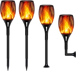 FAISHILAN Solar Flame Flickering Torch, Waterproof Dancing Flame Solar Lights Outdoor, 96 LEDs Solar Tiki Torches, Dusk to Dawn Solar Torch Light, 4 Pack
