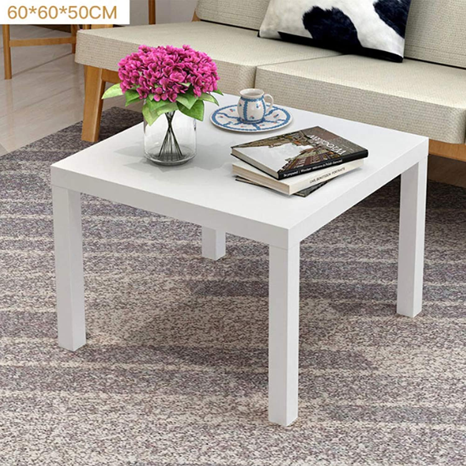 Living Room Furniture Square Coffee Table for Indoor and Outdoor Easy to Assemble 60  60  50Cm,B