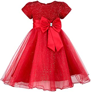 HUAANIUE Girls Flower Girl Red Dress Christmas Party Holiday Dresses