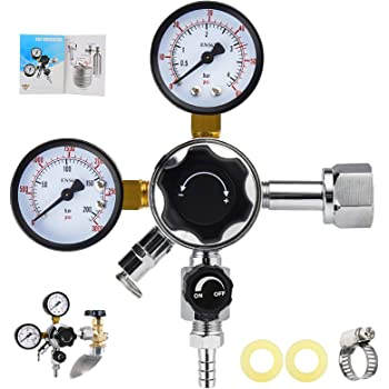 MRbrew Keg Regulator CO2, Kegerator Regulator CGA-320, 0-60 PSI Working Pressure, 0-3000 PSI Tank Pressure, Beer Regulator, Co2 Pressure Regulator with Safety Pressure Relief Valve