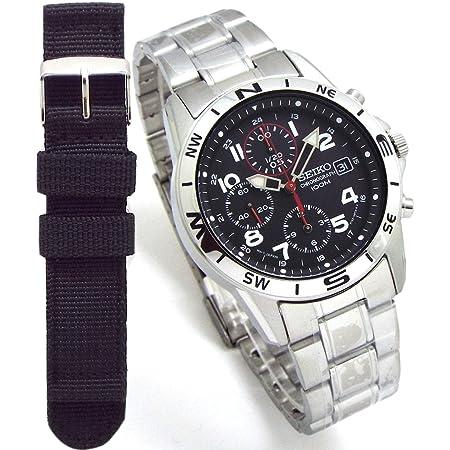 SEIKO メンズ腕時計 クロノグラフ ミリタリー調ベルト付 ブラック x レッド 正規流通品 SND375P [並行輸入品]