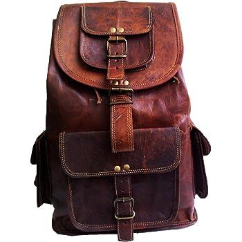 """18"""" Leather Backpack Travel rucksack knapsack daypack Bag for men women"""