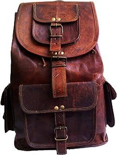 45 Cm Mochila Backpack Salveque Morral Valija De Cuero Piel Marrón para Portátil Ordenador, Impermiable Casual Espalda Uso Escolar Senderismo Viaje Regalo Hombres Mujeres Leather