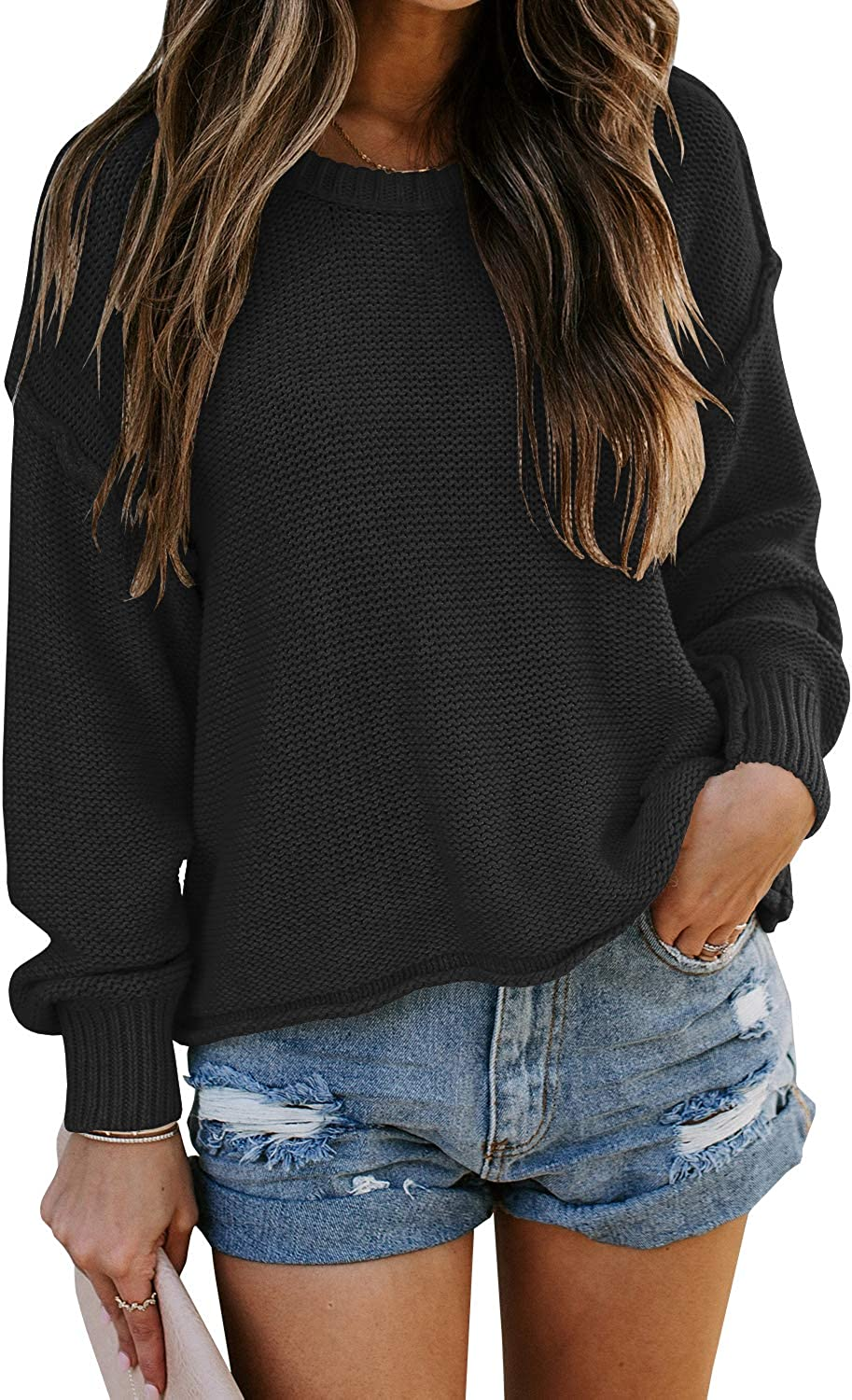 Laseily Women's Long Lantern Sleeve Pullover Sweaters Crew Neck Chunky Cable Knit Fall Jumper Tops