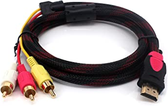 Yilan - Cable HDMI a RCA de 1,5 m, Fibra de Nailon Trenzado HDMI Macho a 3RCA Macho de vídeo Audio AV componente convertidor Adaptador Chapado en Oro para HDTV DVD y la mayoría de los proyectores LCD