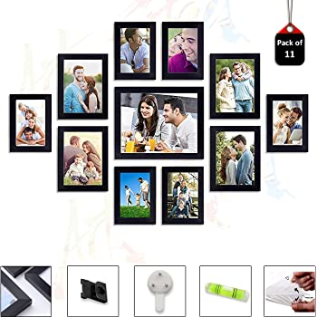 Art Street Set of 11 Individual Wall Photo Frames Wall Decor Free Hanging Accessories Included   Mix Size  6 Unit 4x6, 4 Units 5x7,1 Unit 8x10 inches   (Black)