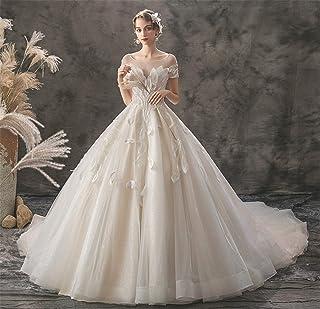 Women's Wedding Dress Evening Round Neck Short Sleeve Long Lace Evening Dresses Lace Light Champagne M