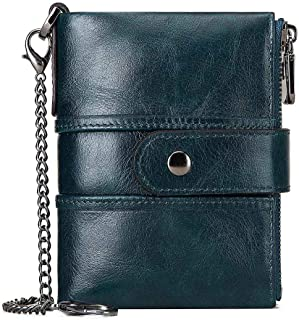 Womens Purse Wallet RFID Blocking Real Leather Ladies Purses with Chain Multi Compartment Purses for Women with Double Zip, Small Bifold Ladies Wallets with Coin Pocket 16 Card Holder (Blue)